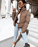 Весенняя короткая куртка женская черная красная бежевая серая белая горчица какао 42 44 46 дутая стиль, фото 6