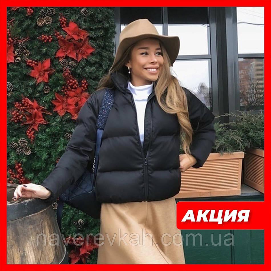 Весенняя короткая куртка женская черная красная бежевая серая белая горчица какао 42 44 46 дутая стиль