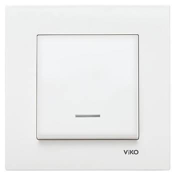 Вимикач одинарний VIKO KARRE з підсвіткою білий (90960019)