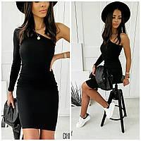 Женское стильное мини платье на одно плечо