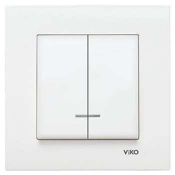 Вимикач подвійний VIKO KARRE з підсвіткою білий (90960050)