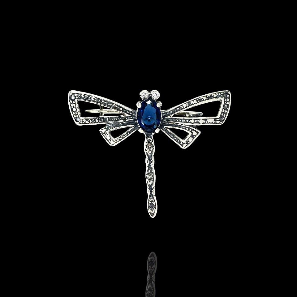 Срібна брошка Бабка з кольоровими каменями