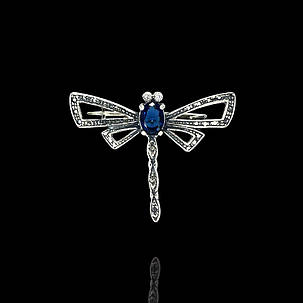 Срібна брошка Бабка з кольоровими каменями, фото 2