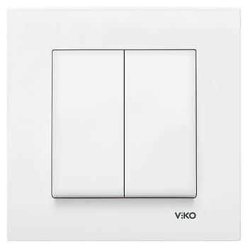 Вимикач подвійний VIKO KARRE білий (90960002)