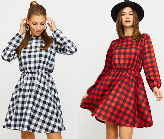 Платье мини в клеточку с юбкой полусолнце KR-рондо