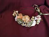 Односторонний венок на голову персиковый с нежно-зеленым, фото 2