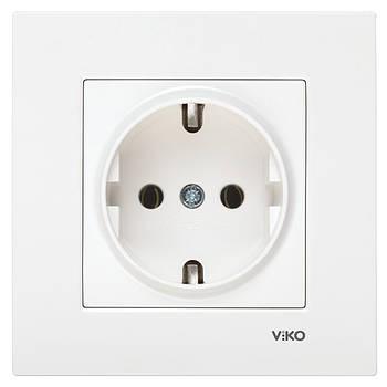 Розетка одинарна з заземленням VIKO KARRE біла (90960008)