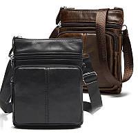 Кожаная мужская сумка барсетка Маранти / Сумка через плечо из натуральной кожи (16x19см)