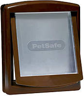 Пластиковая дверь для собаки на входную дверь, до 18 кг, коричневая, 352х294мм
