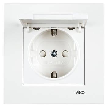 Розетка одинарна з заземленням VIKO KARRE кришкою і шторками біла (90960012)