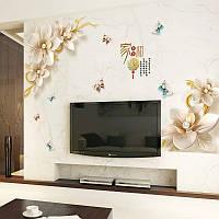 """Наклейка на стену, на шкаф, на кухню, в кофейню """"Белые цветы"""" 108см*168см (2листа 60*90см)"""