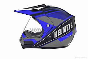 Шлем кроссовый  VLAND  #819-4 +визор, L, Black/Blue