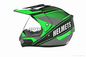 Шлем кроссовый  VLAND  #819-4 +визор, L, Black/Green