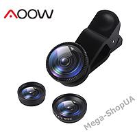 Набор объективов для телефона 3 в 1 с оптических линз Aoow X3AW (Macro, Fisheye lens, Wide-angle) Black