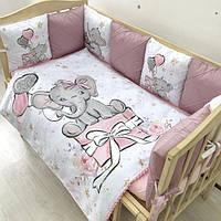 Комплект в детскую кроватку Слоники (бортики + простынь + плед + косичка), бортики-подушечки