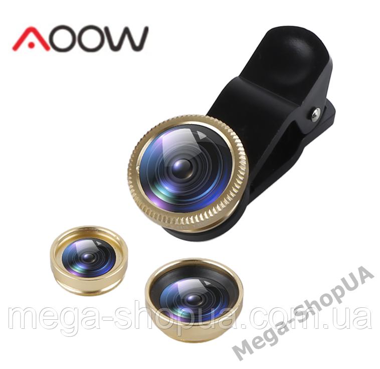 Набор объективов для телефона 3 в 1 с оптических линз Aoow X3AW (Macro, Fisheye lens, Wide-angle) Golden