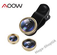 Набор объективов для телефона 3 в 1 с оптических линз Aoow X3AW (Macro, Fisheye lens, Wide-angle) Golden, фото 1