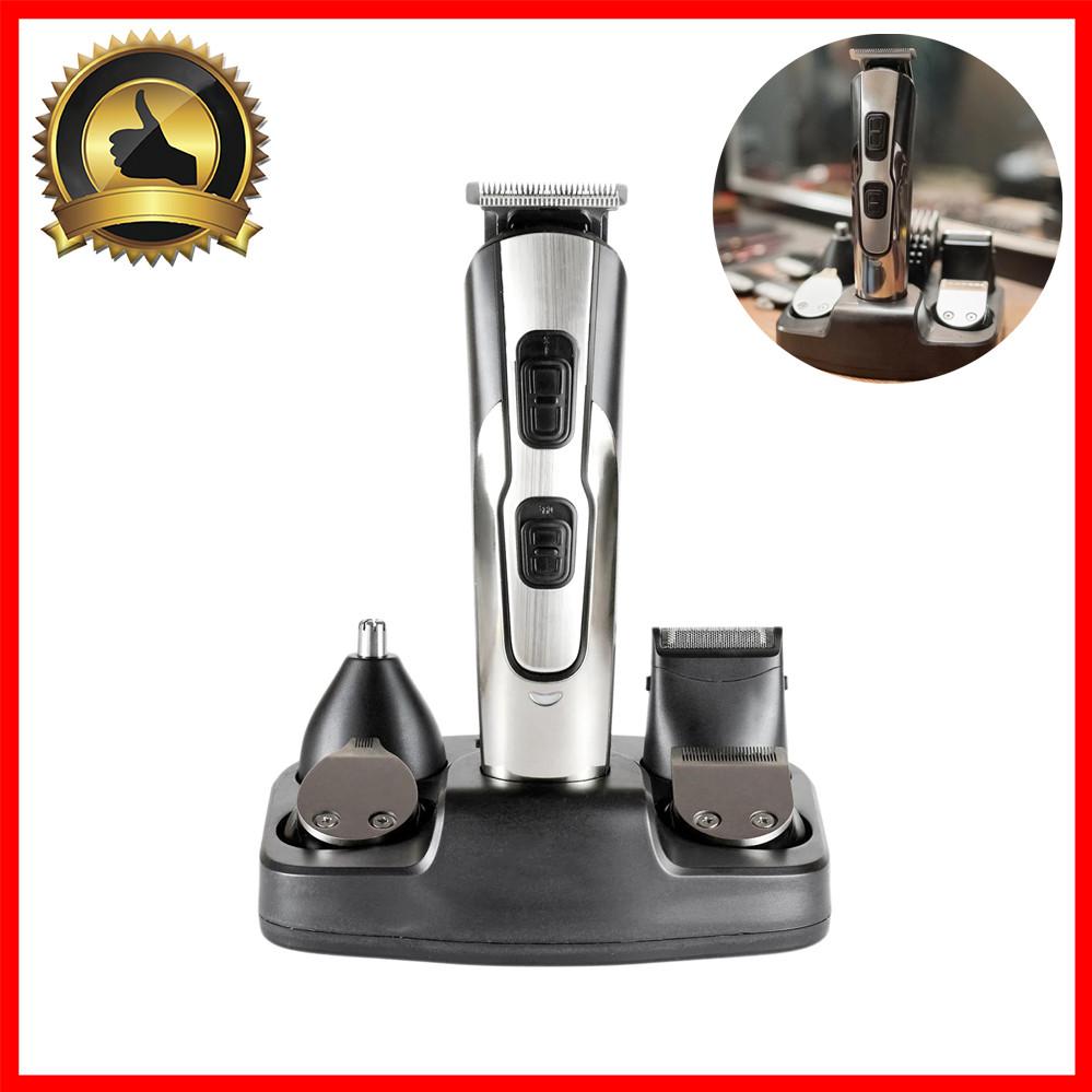 Машинка для стрижки волос беспроводная аккумуляторная на зарядной станции Триммер для носа 10в1 Geemy GM-592