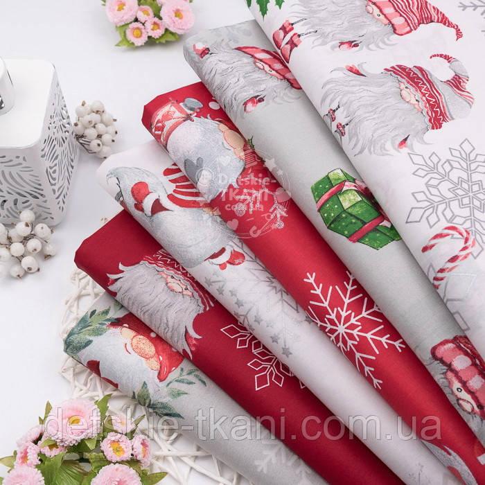Новогодняя бязь с гномами, серебистыми снежинками и подарками