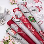 Новогодняя бязь с гномами, серебистыми снежинками и подарками, фото 2