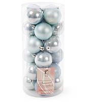 Набір ялинкових кульок 24шт *6см, мікс фактур, фото 1
