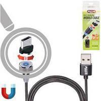 Кабель магнитный PULSO USB - Micro USB 2,4А, 2м черный (только зарядка)