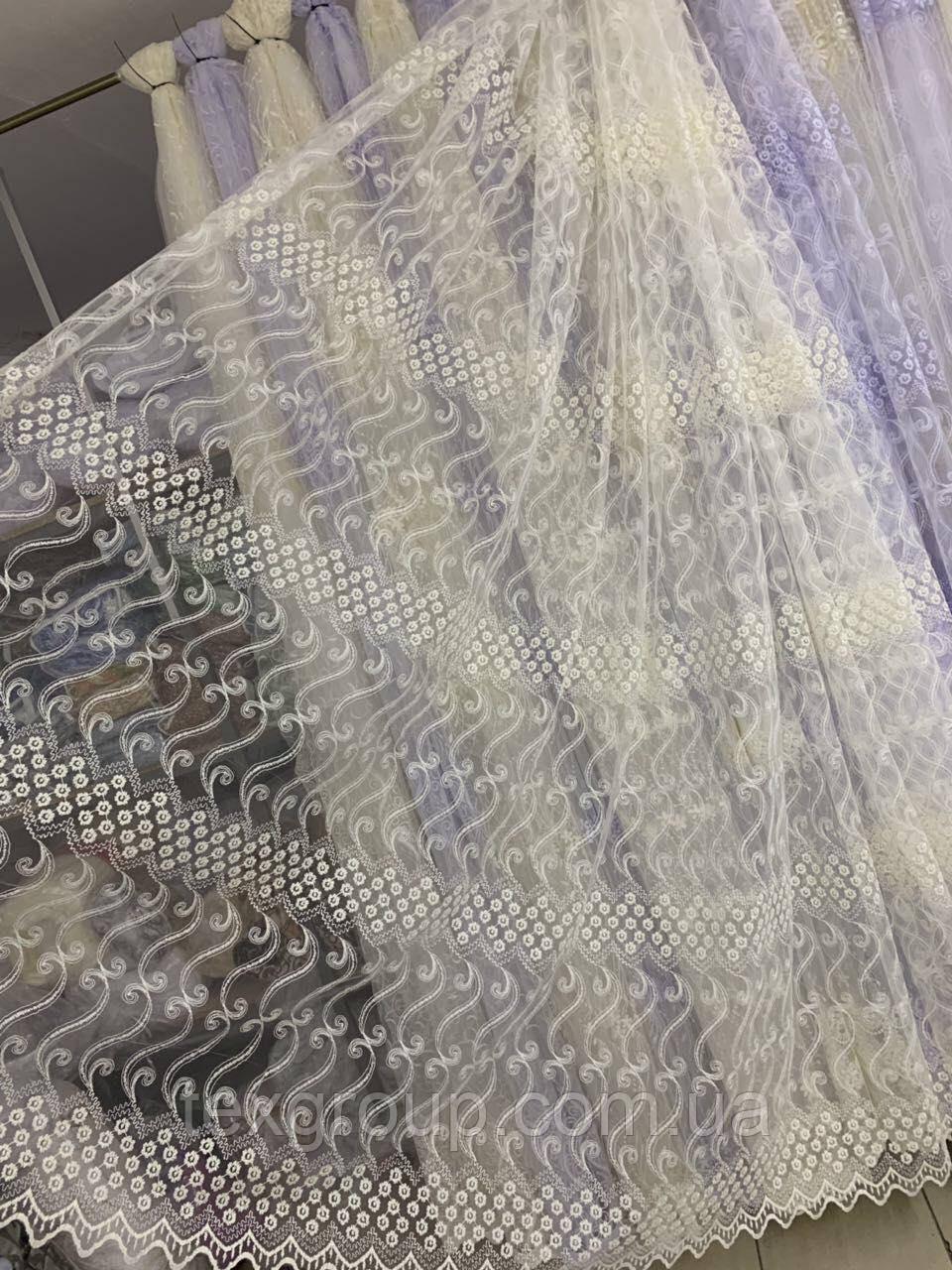 Фатиновая тюль 335 кремового цвета