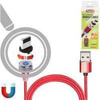 Кабель магнітний PULSO USB - Lightning 2,4 А, 2м червона (тільки зарядка)