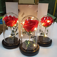 Стабилизированная РОЗА В КОЛБЕ С LED ПОДСВЕТКОЙ, ночник, вечная роза, 17 СМ. Подарок девушке!