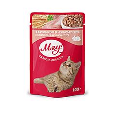 Пауч Мяу кролик в ніжному соусі для дорослих котів 100 гр
