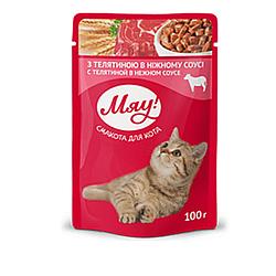 Пауч Мяу телятина в ніжному соусі для дорослих котів 100 гр