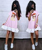 Платье разлетайка с воланом свободного кроя с принтом, фото 3