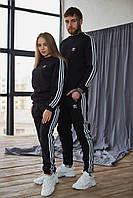 Парный теплый костюм Adidas (свитшот + штаны) черный. Парные спортивные костюмы Адидас черного цвета.