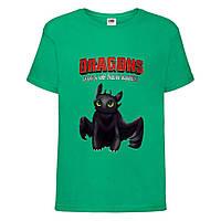 Футболка детская Как приручить дракона 104-164 размер (KPD-03) зеленая