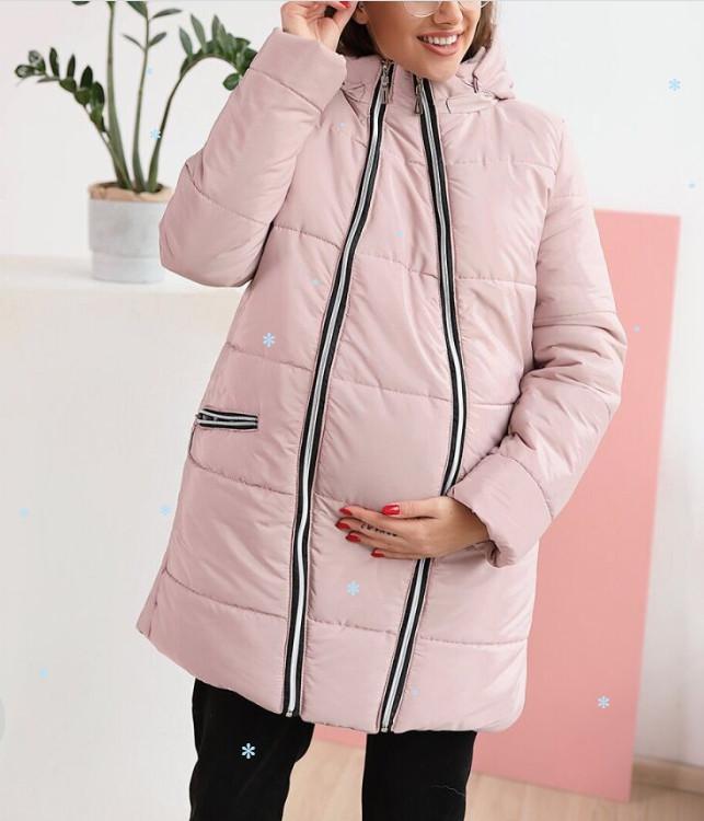Куртка для вагітних зимова Пудра 42 розмір