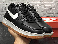 Зимние кожаные кроссовки на меху черного цвета Nike Air Force 1 Low Black White (Найк Аир Форс), фото 1