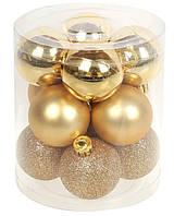 Пластиковые елочные игрушки новогодние шары, набор 12шт*4 см, фото 1