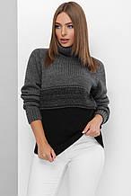 Модний светр під горло Стефанія графіт-чорний (44-50)