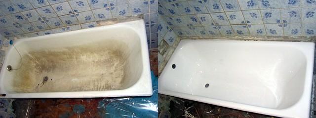 Реставрация ванны наливом.