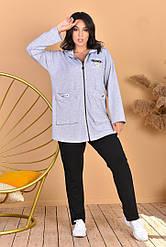 Жіночий класичний спортивний костюм батал, Жіночий стильний спортивний костюм Великого розміру