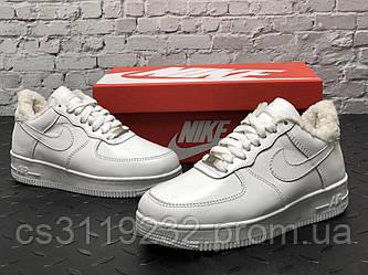 Чоловічі зимові кросівки Nike Air Force (хутро) (білі)