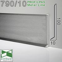 Высокий плинтус из нержавейки стали Profilpas Metal Line 790/6, 60x10x2700mm. Сатин., фото 1