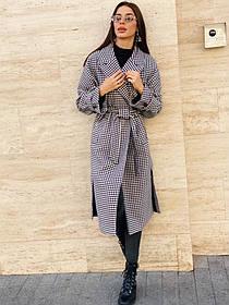 Длинное пальто Черно белое Гусинная лапка(46-48-50, 52-54-56), Пальто гусиная лапка, Женское стильное пальто
