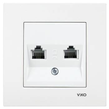 Розетка комп'ютерна + телефонна VIKO KARRE подвійна біла (90960035)