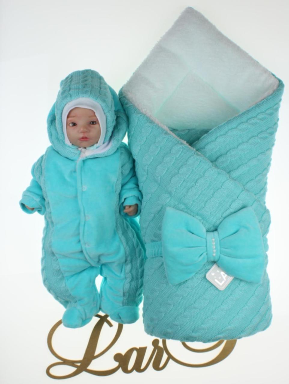 """Зимовий комплект для новонароджених """"Змійка"""" ментоловий"""