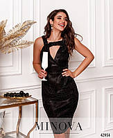 Праздничное платье на широких лямках, украшенное блёстками с 42 по 46 размер, фото 2