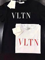Футболка с надписью VLTN накатка черная и белая, фото 3