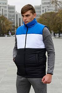 Жилетка мужская осенняя весенняя Intruder Brand 'Koloritna' синяя - белая - черная безрукавка