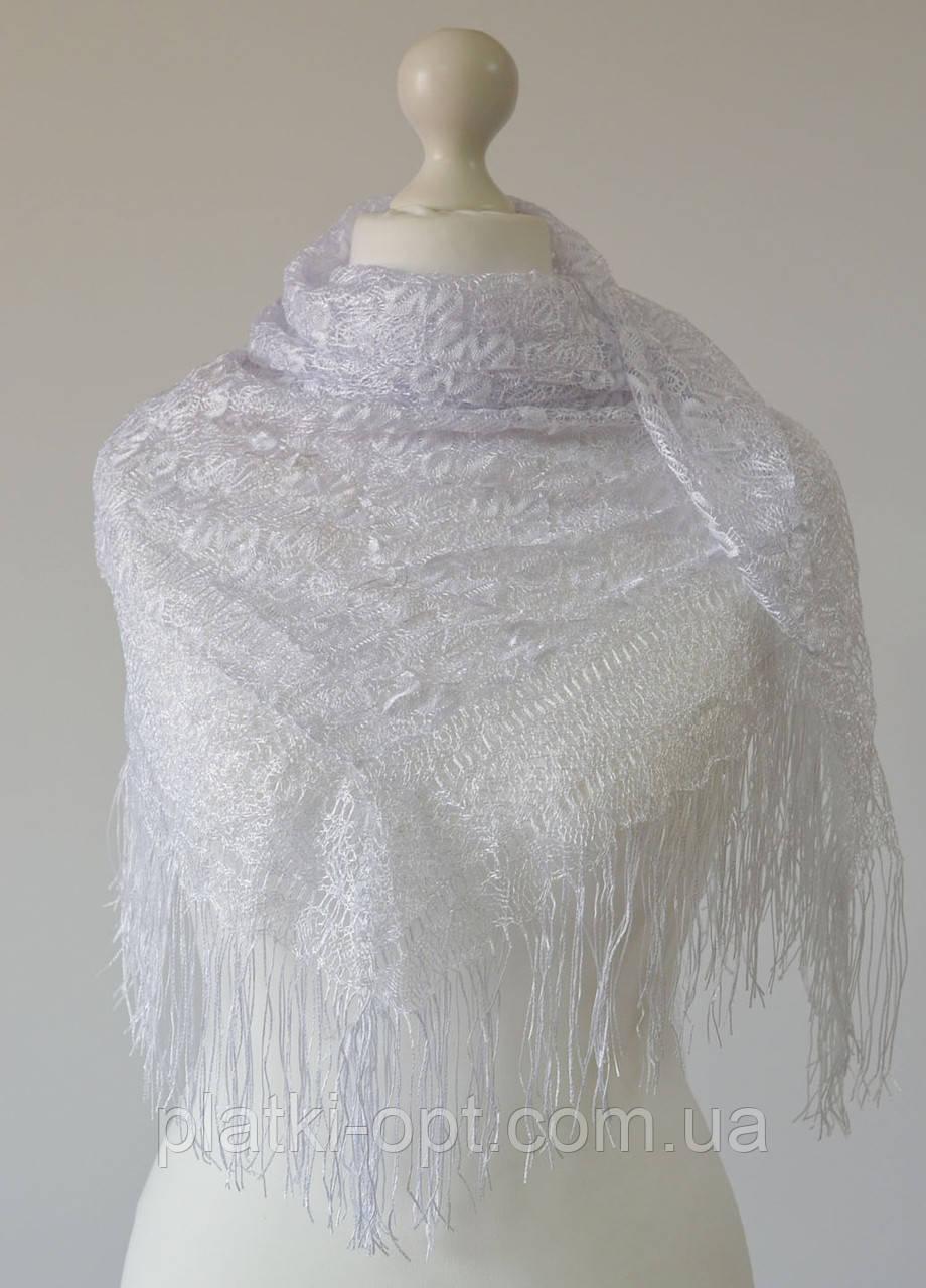 Платок ажурный с бахромой (белый)