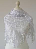 Платок ажурный с бахромой (белый), фото 1